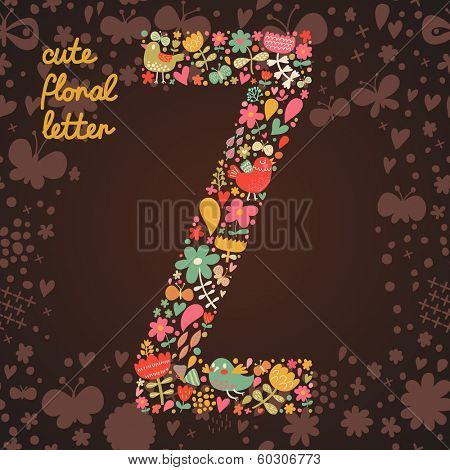 The letter Z. Bright floral element of colorful alphabet made from birds, flowers, petals, hearts and twigs. Summer floral ABC element in vector