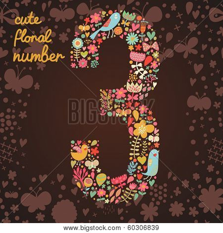 The number 3. Bright floral element of colorful alphabet made from birds, flowers, petals, hearts and twigs. Summer floral ABC element in vector