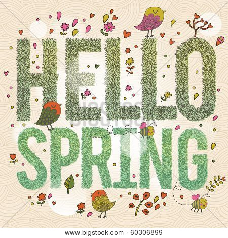 Hello Spring. Bright spring concept card with text made of leafs, birds, flowers and bees. Stylish illustration in vector