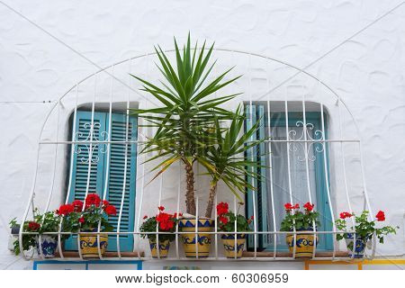 Mediterranean balconade typical from Spain in Peniscola Castellon