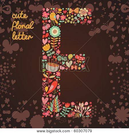 The letter E. Bright floral element of colorful alphabet made from birds, flowers, petals, hearts and twigs. Summer floral ABC element in vector