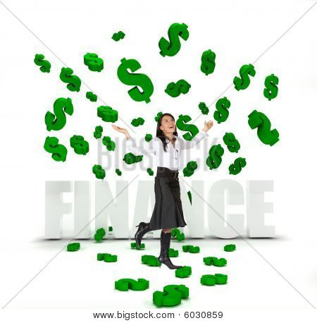 Business Woman Under A Money Rain