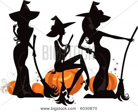 Silhouette Of Three Glamour Witches.