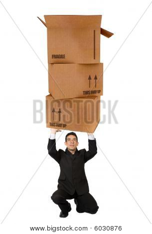 Business Man Holding Cardboard Boxes