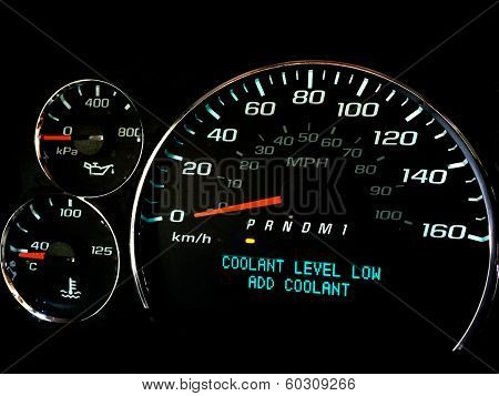 Coolant level low warning light
