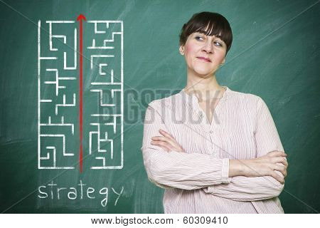 Woman Smiles Writes On A Blackboard The Concept Of Strategy