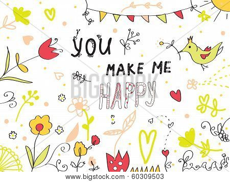 You make me happy greeting card floral