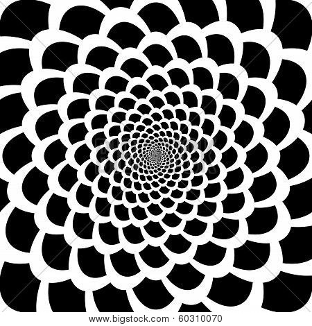 Monochrome Abstract Perspective Swirl Movement Background In Op Art Design