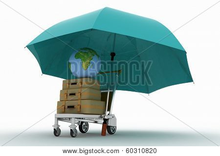 Transportation of earth and suitcases on a freight light cart under the umbrella. Elements of this image furnished by NASA.