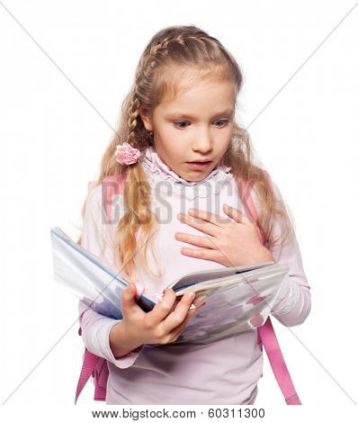Surprised child with schoolbag. Girl with school bag isolated on white
