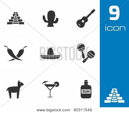 Vector black mexico icons set