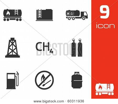 Vector black natural gas icons set