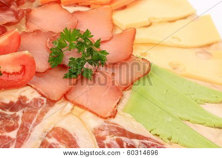 Close up of meat and cheese.
