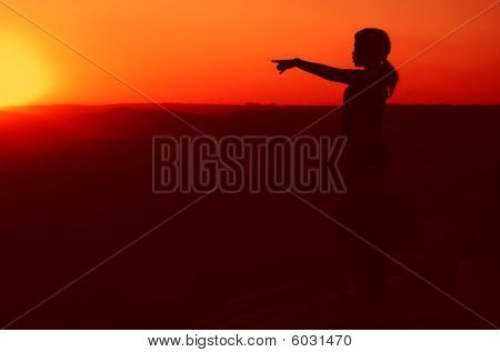 Silhouette Of Business Woman On Hill Top During Sunset