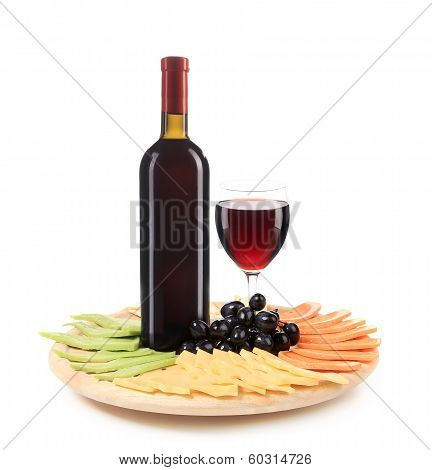 Red wine and cheese composition.