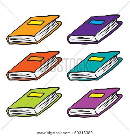 books cartoon doodle isolated on white