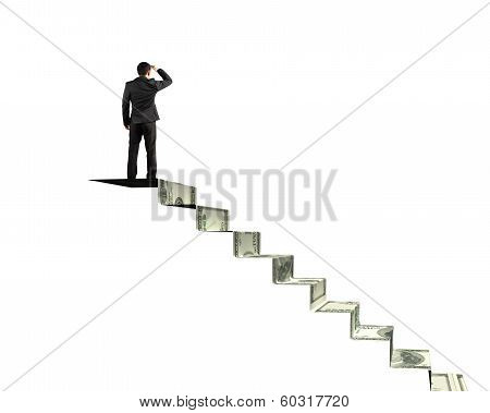 Man Gazing On Top Of Money Stairs