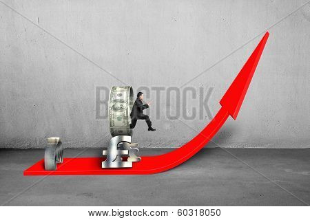 Man Jumping Through Money Circle On Rising Red Arrow