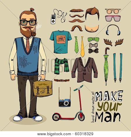 retro style man set