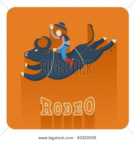 Rodeo Icon.man Riding A Bull