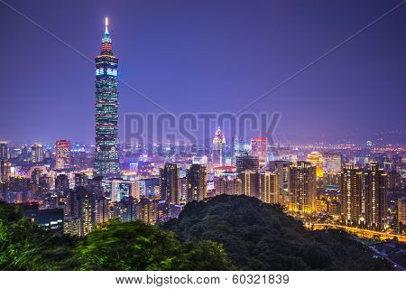Taipei, Taiwan skyline at night.