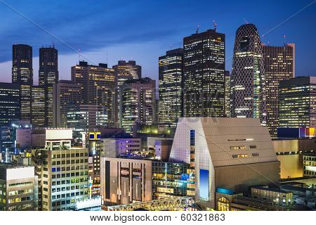 Tokyo, Japan at the Shinjuku skyscraper district.
