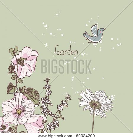 garden theme, hollyhock, basil and daisy