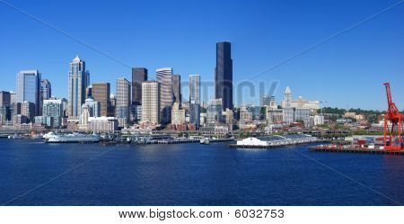 Panorama - Seattle Waterfront Skyline,with Ferry And Dockyard