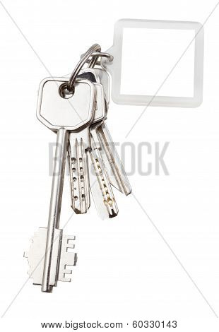 Bunch Of Keys On Ring And Keychain