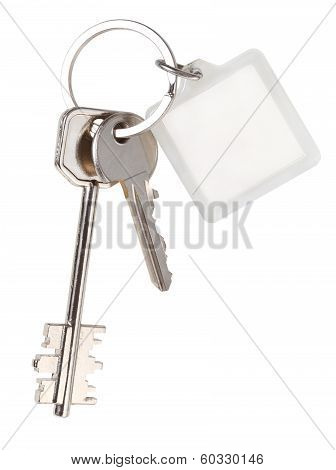 Pair Home Keys And Square Keychain On Ring