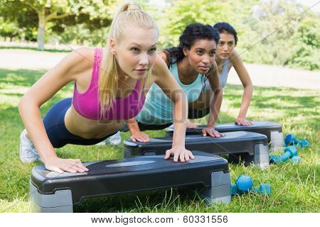 Determined sporty multiethnic women doing step aerobics in park