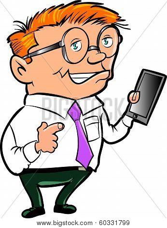Cartoon nerd with hand held computer. Isolated
