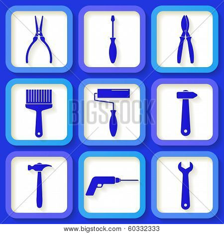 Set Of 9 Retro Blue Worker's Tools. Eps10