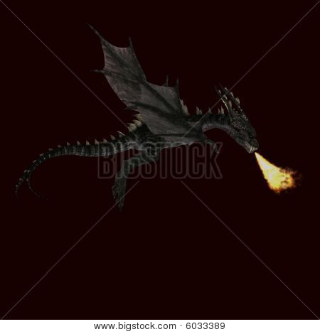 Giant Terrifying Dragon With Wings And Horns Attacks