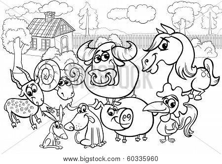 Farm Animals Cartoon Coloring Page