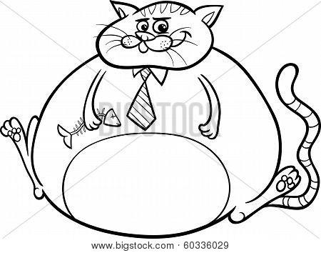Fat Cat Saying Cartoon Illustration