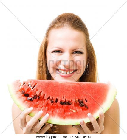 Woman With Piece Of Watermelon
