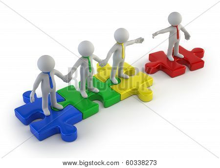 3D Small People - Teamwork Colorful