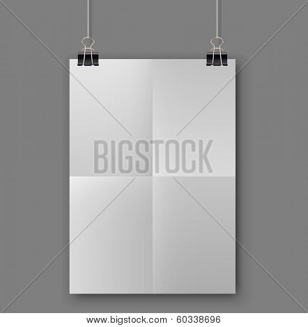 Blank folded white sheet of paper hanging on binder clips vector template.