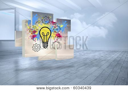 Light bulb on abstract screen against room with holographic cloud