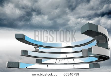 Composite image of tiny business people on abstract screen against cloudy sky