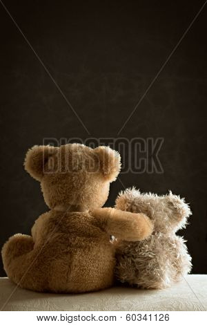 Two teddy bears sitting side by side on couch