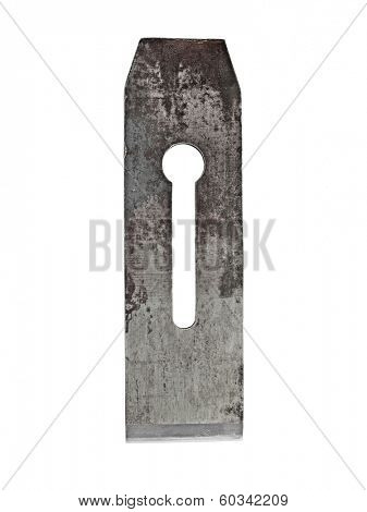 vintage forged rusty bench plane blade over white, clipping path