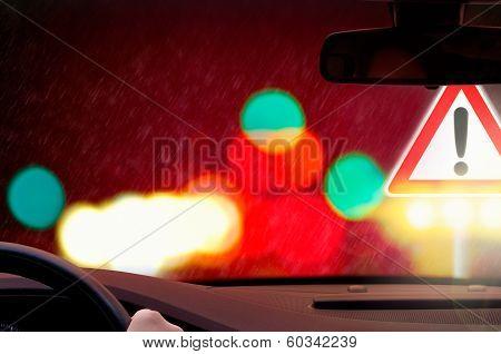 night driving - Caution - rain