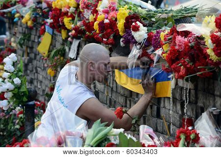 KIEV, UKRAINE - February 24, 2014: Ukrainian revolution, Euromaidan. Days of national mourning for the killed defenders of the Maidan