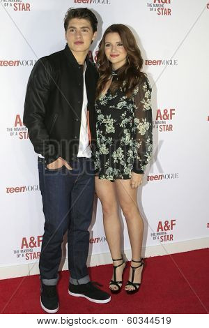 LOS ANGELES - FEB 22:  Gregg Sulkin, Katie Stevens at the Abercrombie & Fitch 'The Making of a Star' Spring Campaign Party  at Siren Studios on February 22, 2014 in Los Angeles, CA
