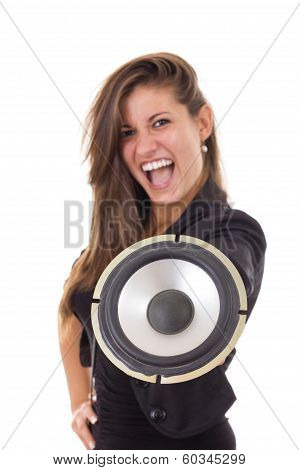 Pretty Business Woman With Speaker