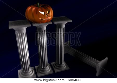 Halloween Pumpkin And Columns
