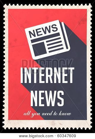 Internet News on Red in Flat Design.