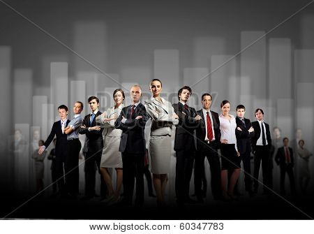 Image of business team standing in line. Cooperation and interaction
